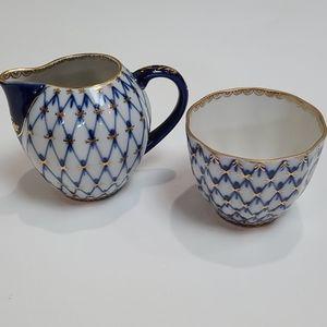 Lomonosov Cobalt Net Creamer & Open Sugar
